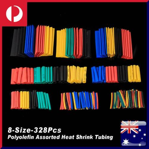 328Pcs Polyolefin Assorted Heat Shrink Tube Sleeve Insulated Wire Connectors NEW