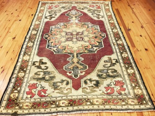 Late 1900s Antique Gold-Ivory Colors Wool  Pile Oushak Rug 5x7ft