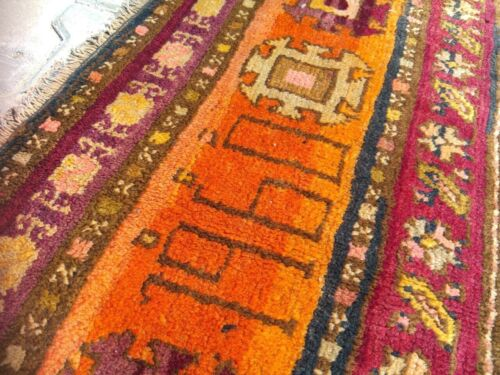 Dated 1960s,Star Patterned Natural Dye Wool Pile Armenian Rug 5x13ft