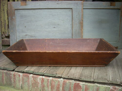 """Antique 19th C Apple Tray Box Canted Sides Pine Boards Large 31"""""""