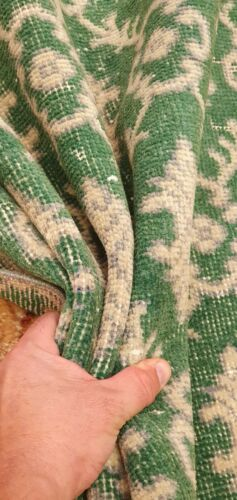 Decorative Antique 1930-1940's Sage Green Distressed Wool Pile Oushak Area Rug