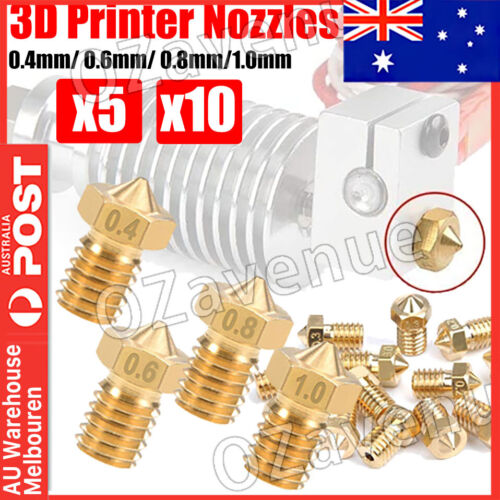 1x 5x 10x 3d printer nozzles for V6 style hotend (0.2mm/0.4mm/0.6mm/0.8mm) AUS