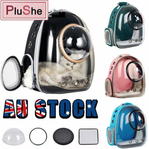 Cat Dog Breathable Pet Carrier Bag Outdoor Travel Transparent Space Backpack AU <br/> ✅Upgrade 12 breathing holes   ✅Free 4  accessories sets