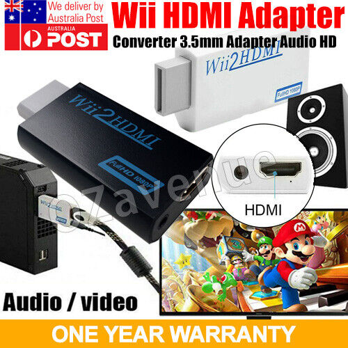 Wii to HDMI HD1080p Converter Mini 3.5mm Adapter Wii2HDMI Audio Video Output