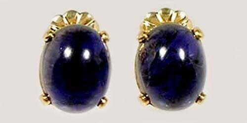 Iolite Gold Earrings 6ct Antique 18thC Medieval Shaman Amulet Astral Travel Gem