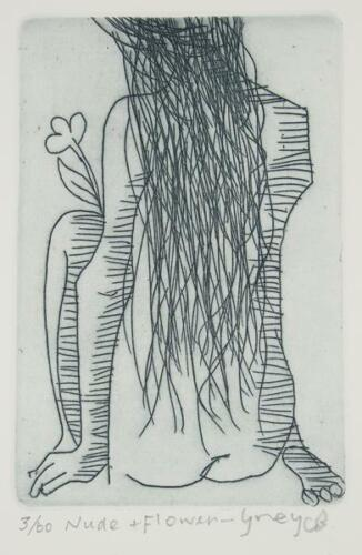 Charles BLACKMAN Nude and Flower - Grey - Signed Etching, Modernist, Minimal