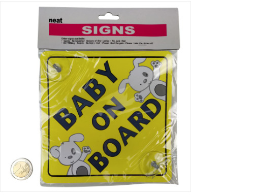 Baby on Board Sign Suction Cup Easy Remove and Reattach