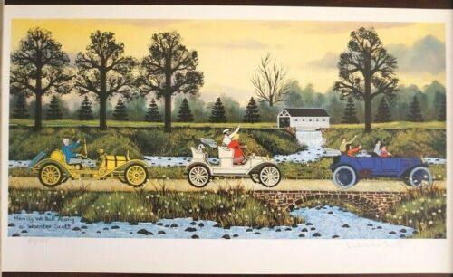 """Limited Edition Lithograph by Jane Wooster Scott - """"Merrily We Roll Along"""""""
