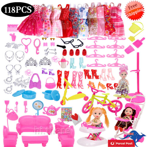 118PCS Fashion Party Dresses Clothes Shoes Accessories For Barbie Doll Kids Gift