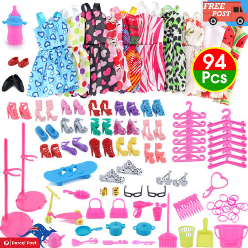 94 Pcs Barbie Doll Clothes Accessories Huge Lot Party Gown Outfits Girl Gift Set