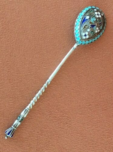 OLD ORIGINAL RUSSIAN IMPERIAL SILVER 84 CLOISONNE ENAMEL 1 SPOON ANTIQUE RUSSIA