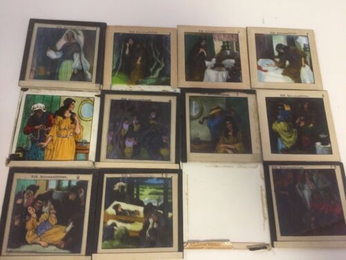 Vintage Set of12 Glass Slides/Magic Lantern - Snow White-7 Dwarves~Germany~ TY42