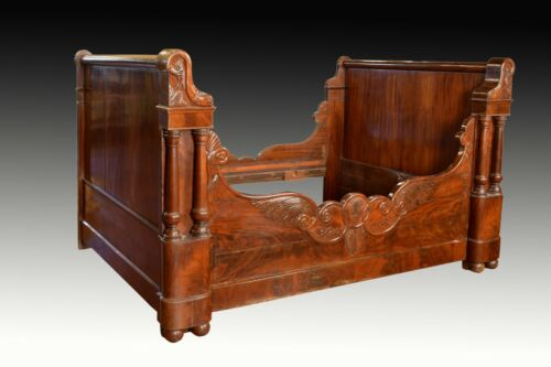 Mahogany Neoclassical Bed Frame, 19th Century