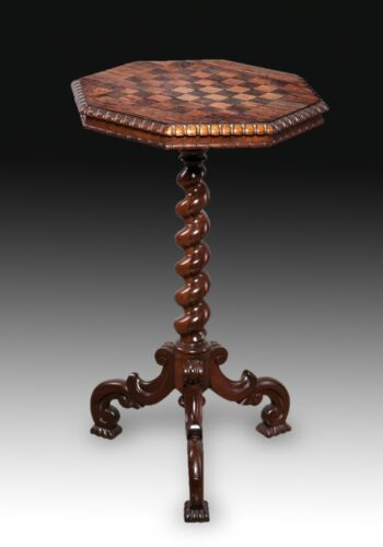 Victorian chess pedestal or side table. Mahogany, England, 19th century.