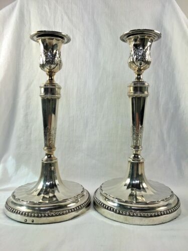 Exceptional Antique Italian/French Silver Candlesticks, Parma c. 1810 G.Magrini