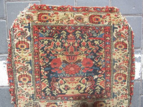 Antique Hand Made turki  small BAG rug wool 58x50-cm / 22.8x19.6-inches