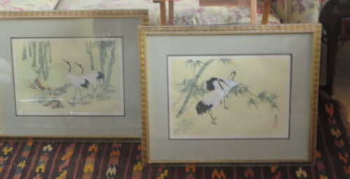 2 Japanese Cranes Paintings Painted on Rice paper Framed silk Signed