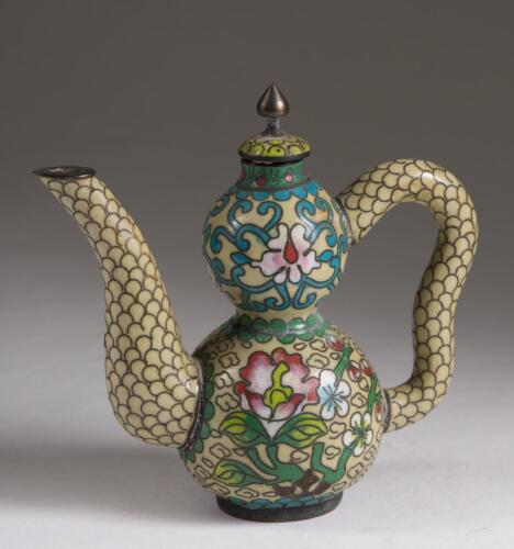 Fine Old China Chinese Miniature Gourd Shaped Cloisonne Teapot ca. 19-20th c