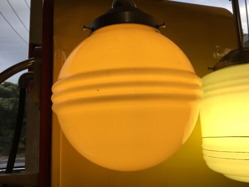 ORIGINAL ART DECO SHADE GLASS LAMP LIGHT DIANA ROUND LINES PENDANT CREAM
