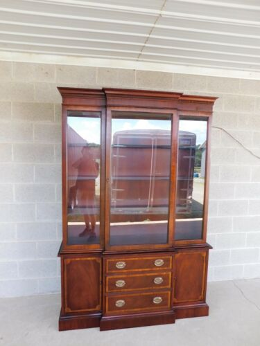 "Hickory Chair Georgian Style Mahogany Banded Breakfront China Cabinet 54""W"