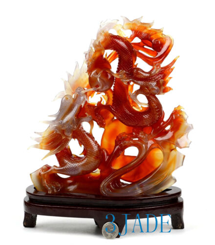Carnelian / Red Agate Double Dragons Playing Pearl Sculpture Chinese Carving