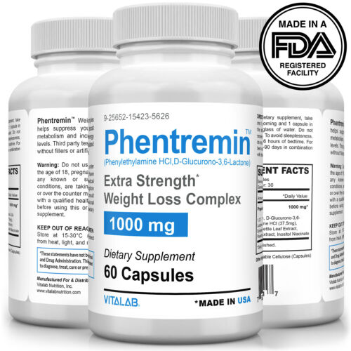 Phentremin® Extra Strength Weight Loss Complex 1000mg Appetite Suppressant 37.5 <br/> EXTRA STRENGTH - CLINICALLY TESTED - GUARANTEED RESULTS
