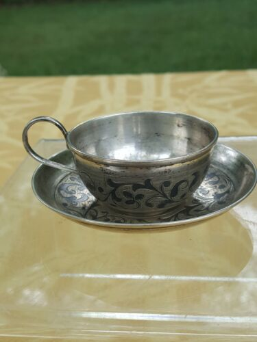 RUSSIAN 1870 niello small cup and plate.