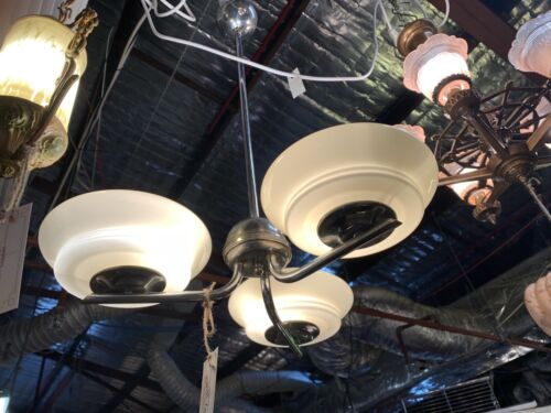 Art Deco 1930's Yellow Glass Shades with - 3 Arm Chrome Ceiling Light Fixture