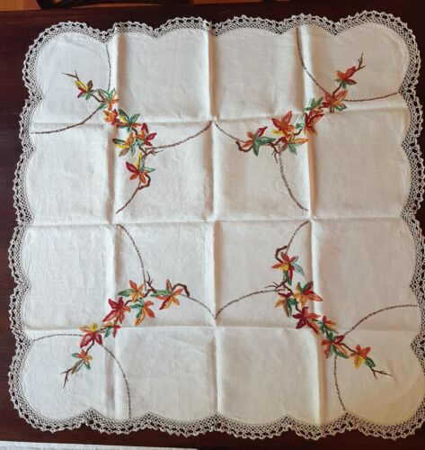 Vintage Retro Embroidered Table cloth Floral Tablecloth Square 90cm