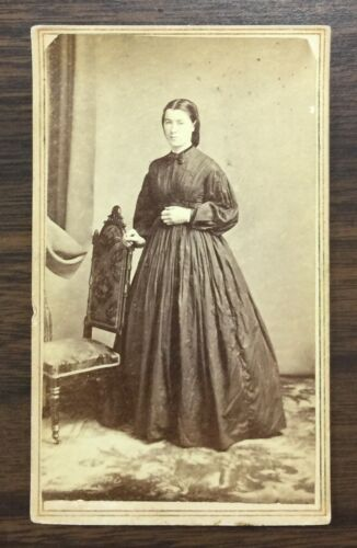 1860's Real Photo Young Woman by Chas Hart Watertown NY CDV Antique  G7020726