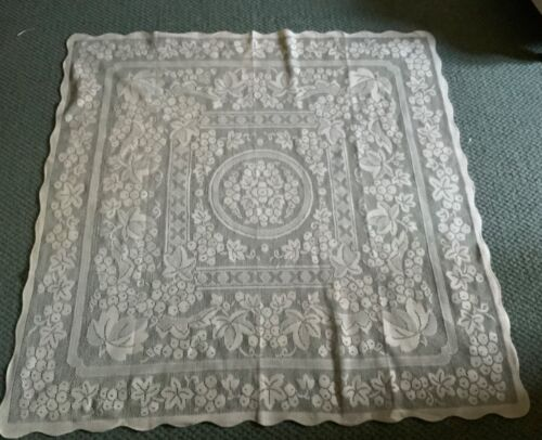 Lovely Vintage Lace (cotton)  table/supper cloth  -125 cm  by 125 cm -cream