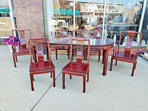 Oriental Asian Vintage Rosewood Ming Dining table with 6 + 1 chairs dragon motif