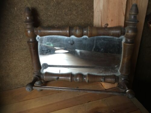 OLD SWEDISH MIRROR WITH WOOD FRAME AND PLACE FOR HANGING TOWELS