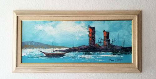 Mid Century Modern Abstract Oil Painting Seascape Signed
