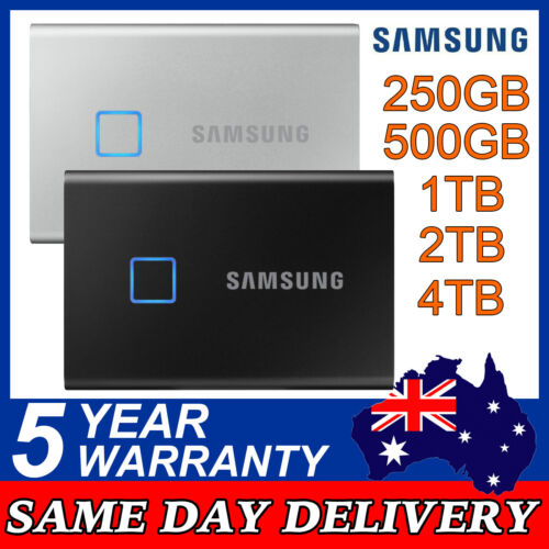 Samsung T7 Touch 500GB 1TB 2TB Portable SSD USB-C External Solid State Drive
