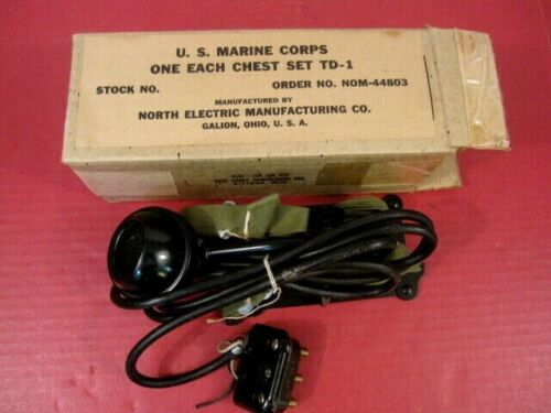 WWII USMC TD-1 Chest Set Microphone for the HS-17 Headset Radio Assembly - MINTField Gear, Equipment - 4721