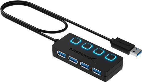 Sabrent 4-Port USB 3.0 Data Hub with Individual LED Power Switches | 2 Ft Cable