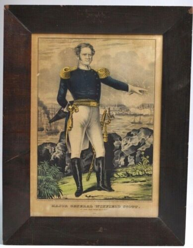 "Original N. Currier Hand-Colored Lithograph ""General Winfield Scott"" Civil War EPosters & Prints - 156382"