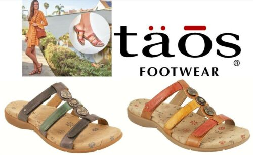 Taos Comfort slip on adjustable sandals leather Taos Shoes Prize 3 new colours