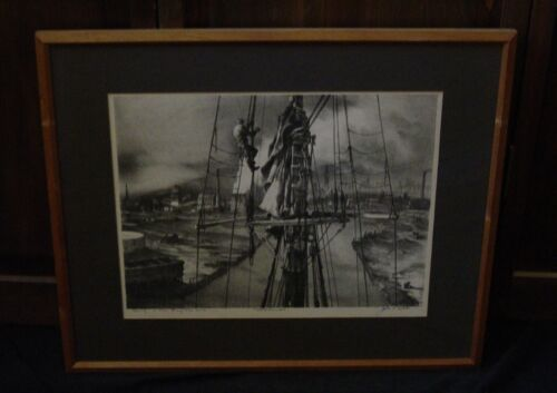 John A Noble Signed & Framed 1967 Litho DYING IN THE ENGLISH KILLS MAST&MAN #2