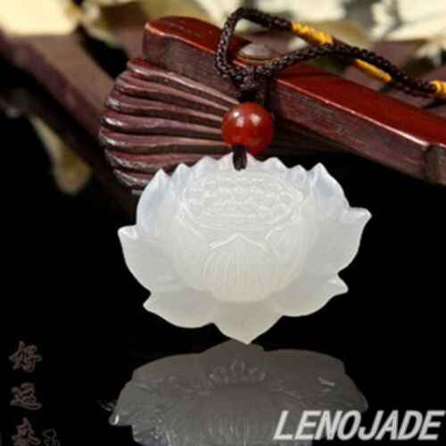 100% Natural white Chinese Hetian Jade 100% Hand-carved lotus flower Pendant