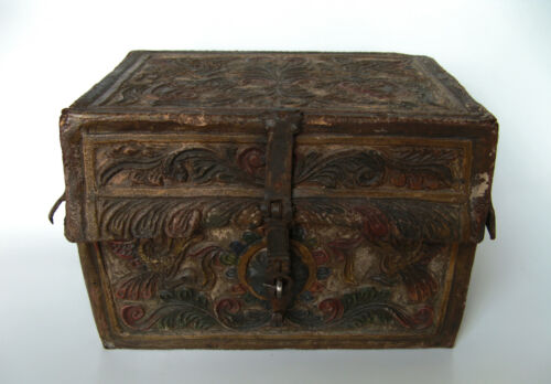 Spanish Colonial -  Hand Tooled Leather Petaca - Document box
