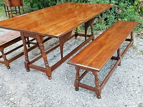 Cherry double drop leaf colonial dining table & 2 large benches by Pennsylvania