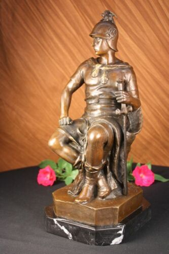 Vintage Styl Crafted Soldier GREEK ROMAN Real Bronze Hot Cast Sculpture Figure