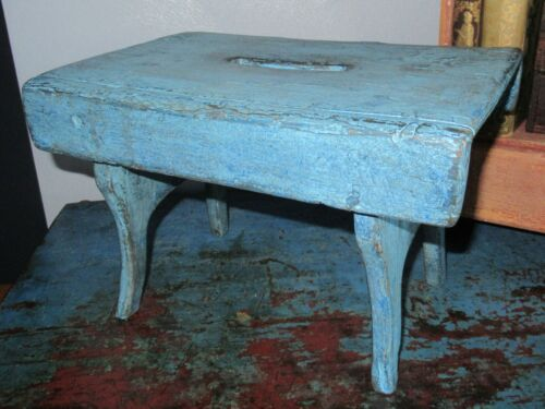 Early Primitive Blue Paint Cricket Bench Stool