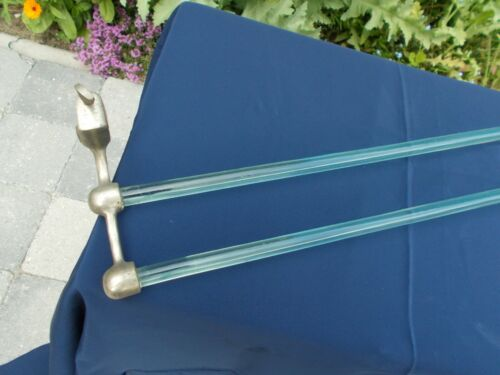 1920s Double Glass Rod Towel Rack in Nickel plated Frame Art Déco
