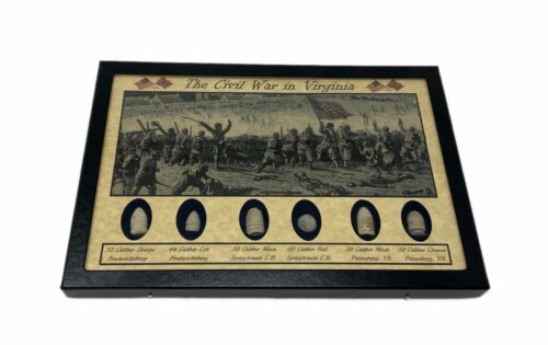 The Civil War in Virginia Bullet Set with Glass Topped Display Case & COA Bullets - 103996