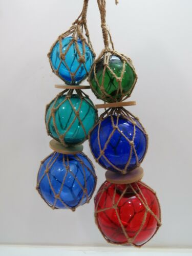 """TWO  3""""4""""5""""  DIFFERENT COLORS TRIO CURIO GLASS FLOATS BALLS BUOYS BOUYS NET"""