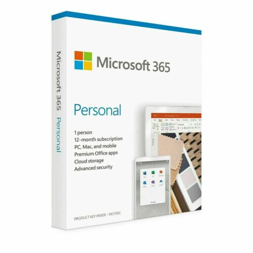 Microsoft Office 365 Personal 1 PC/Mac/Android/iOS 1 Year Word Excel PowerPoint