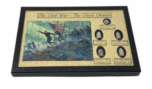 The Union Charge in the Civil War Bullet Set with Glass Topped Display Case Bullets - 103996